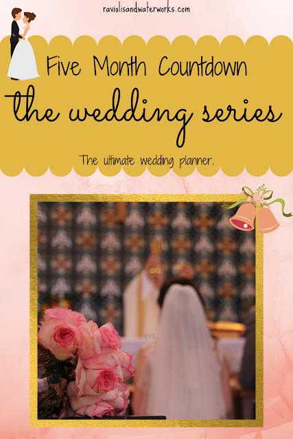 wedding planning at 5 months; wedding planner 5 month countdown; wedding planner to do list