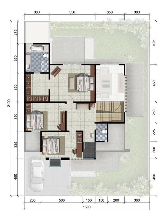 Denah rumah minimalis ukuran 15x21 meter 5 kamar tidur 2 lantai