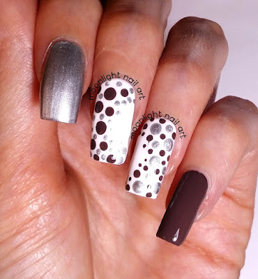Easy Dotting Tool Nail Design: Brown and Grey Dots on White Nail Art