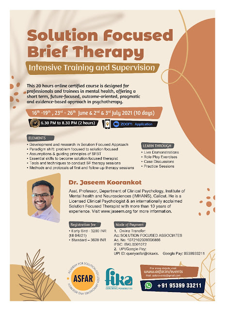 Solution Focused Brief Therapy: Intensive Training and Supervision