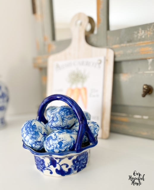 decoupaged Easter eggs porcelain basket