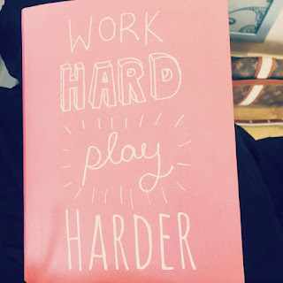 "Much Needed Me Time | Morgan's Milieu: A pink notebook with the slogan ""Work Hard Play Harder"" on the cover"