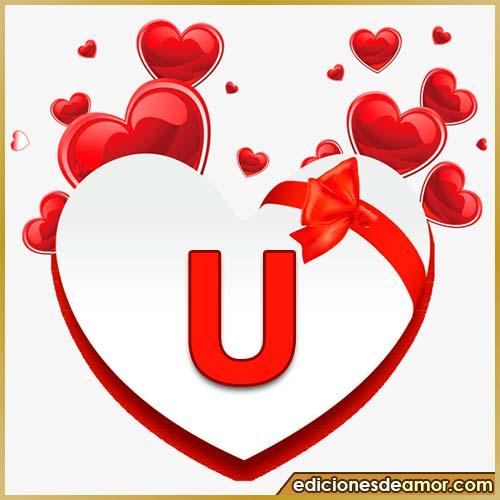 corazones volando con letra U