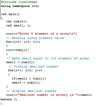 C Program To Find Smallest Number In Array