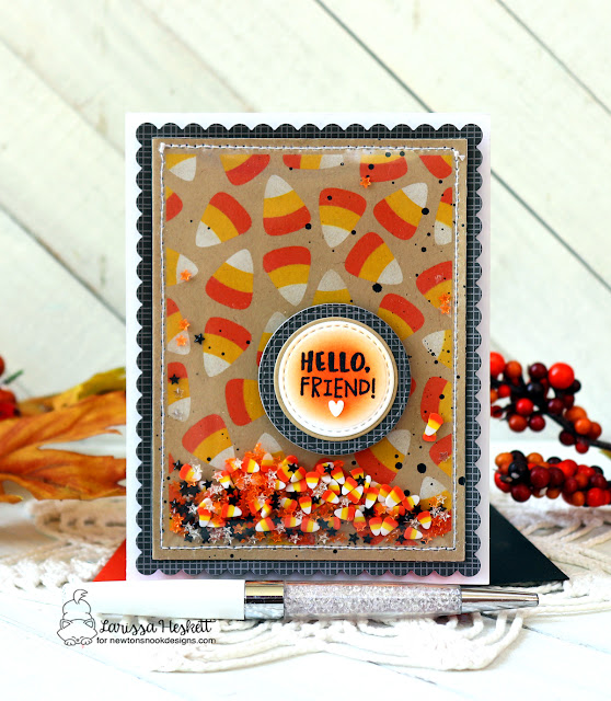 Candy Corn Shaker Card by Larissa Heskett   Candy Corn Stencil Set, Circle Frames Die Set, Frames & Flags Die Set and Puppy Friends Stamp Set by Newton's Nook Designs