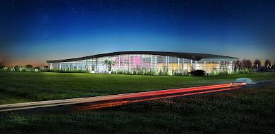 Perspective 3d centre aquatique concours rendu extérieur nuit