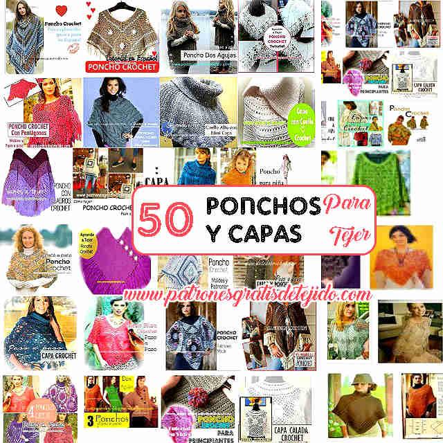50 patrones y tutoriales de ponchos y capas para tejer al crochet y con dos agujas