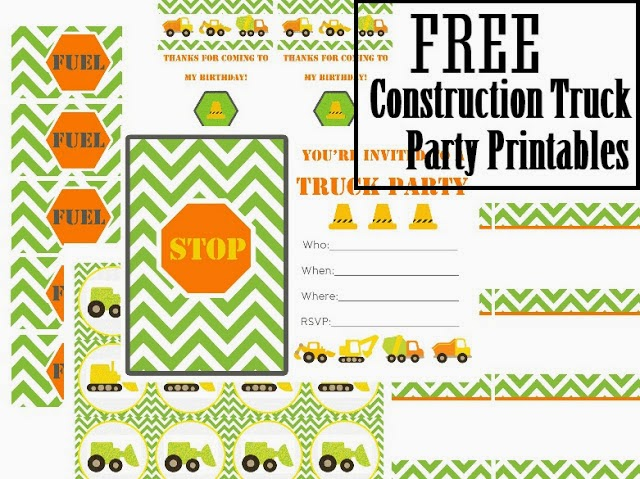 Construction Party Free Printable Kit.