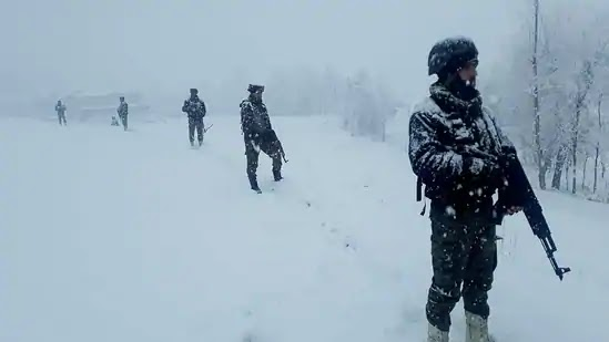 An Indian Army Personnel Guarding In Snow