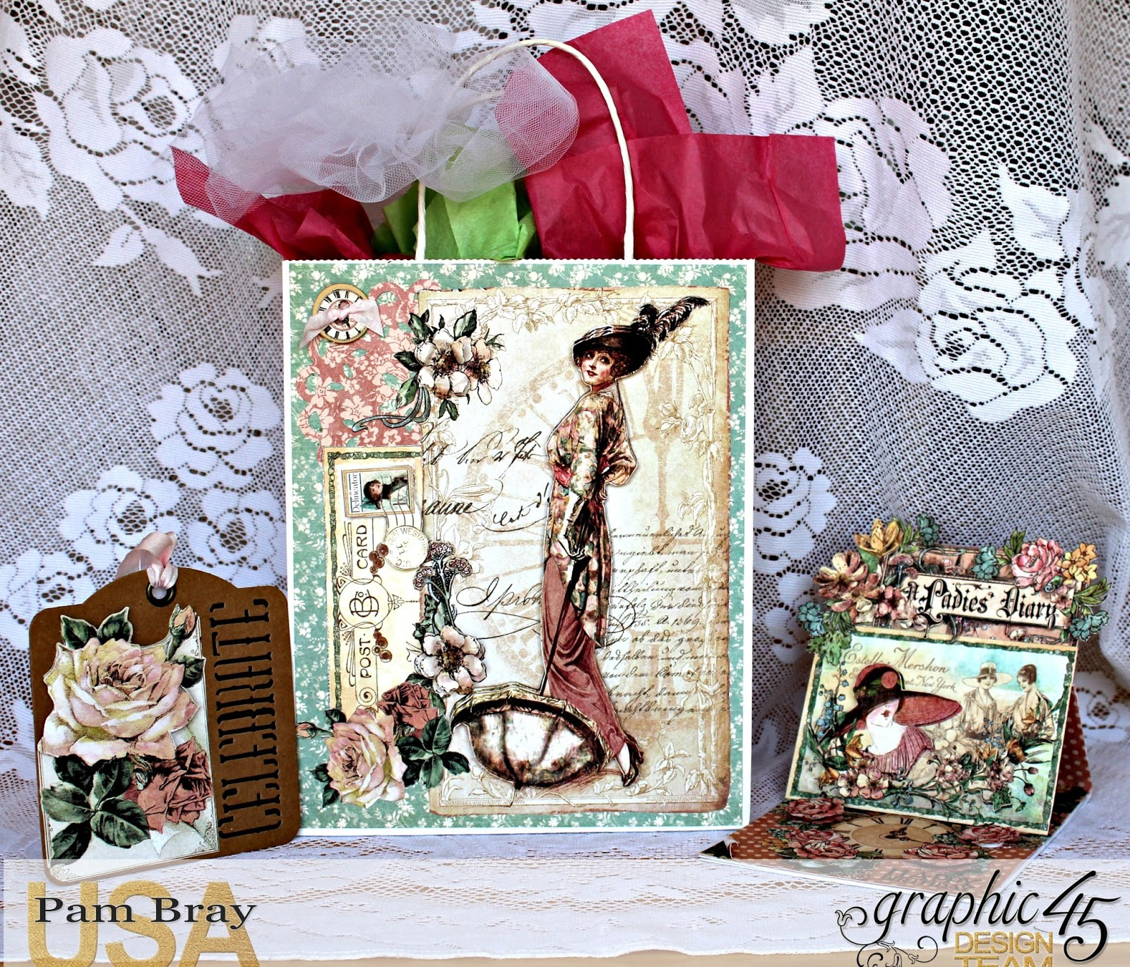 DIY Birthday Gift Tag Bag And Easel Set With Graphic 45