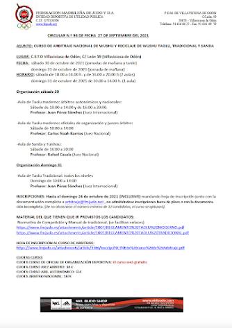 CIRCULAR CURSO WUSHU INSCRIPCIÓN ANTES DE 24/10/2021