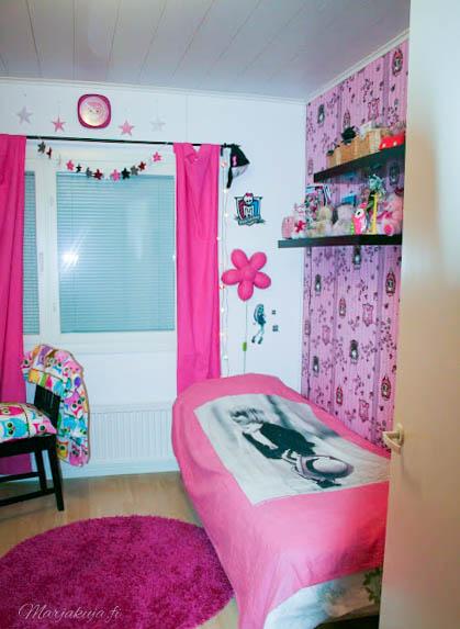 tytön pinkki huone pöllö rebel tapetti värikäs