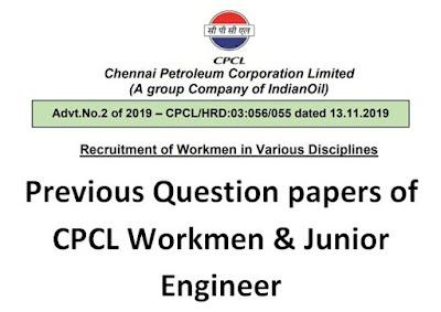 CPCL Workmen Previous Question Papers