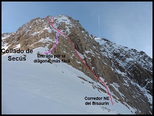 Recorrido del corredor Noreste del Bisaurín