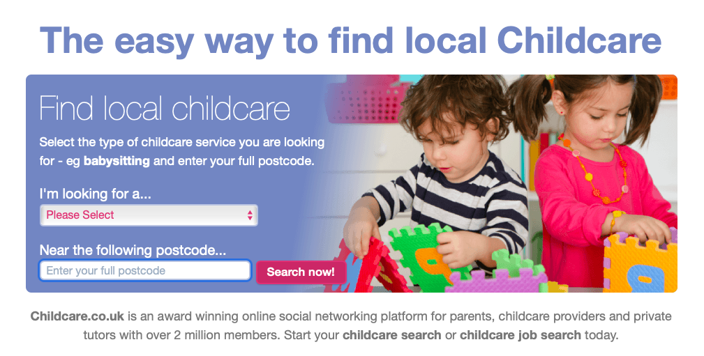 childcare.co.uk home screen