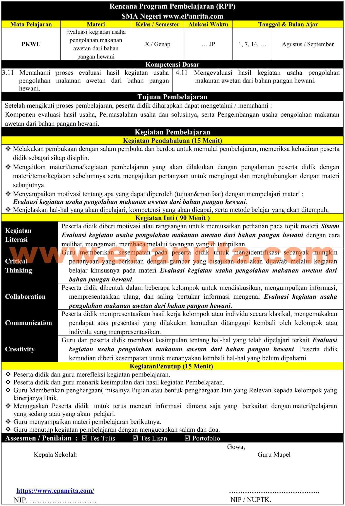RPP 1 Halaman Prakarya Aspek Pengolahan (Evaluasi kegiatan usaha pengolahan makanan awetan dari bahan pangan hewani)