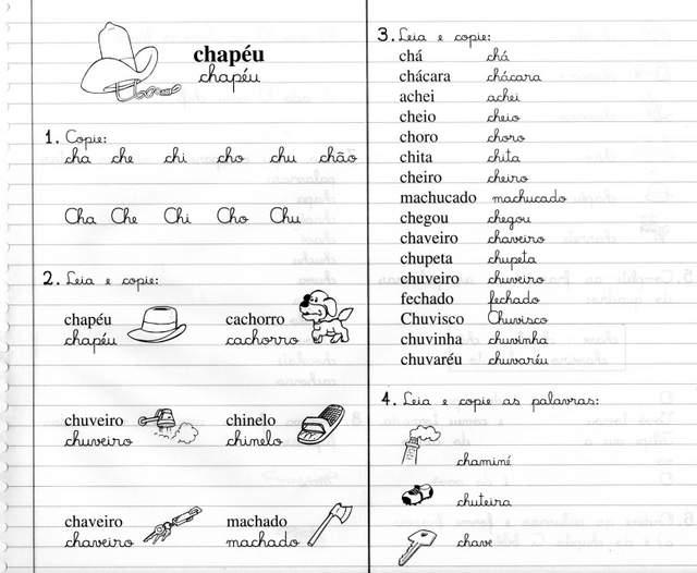 Atividades Com As Sílabas Cha Che Chi Cho Chu Chão Livro Caderno
