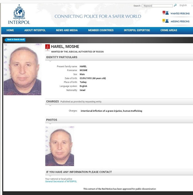 Moshe Harel interpol information screenshot