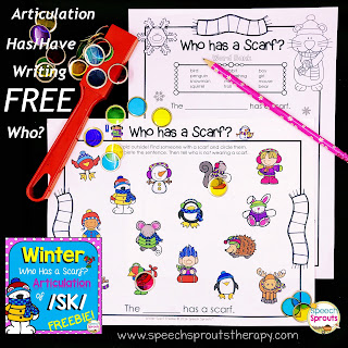 S Blend Articulation and Winter Writing Center: Who has a Scarf? www.speechsproutstherapy.com