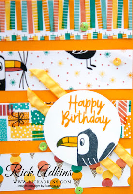 Bonanza Buddies Stamp Set, Birthday Bonanza Designer Series Paper, Daffodil Delight Ruched Ribbon, Birthday Card, Mystery Stamping, Rick Adkins, Stampin' Up!