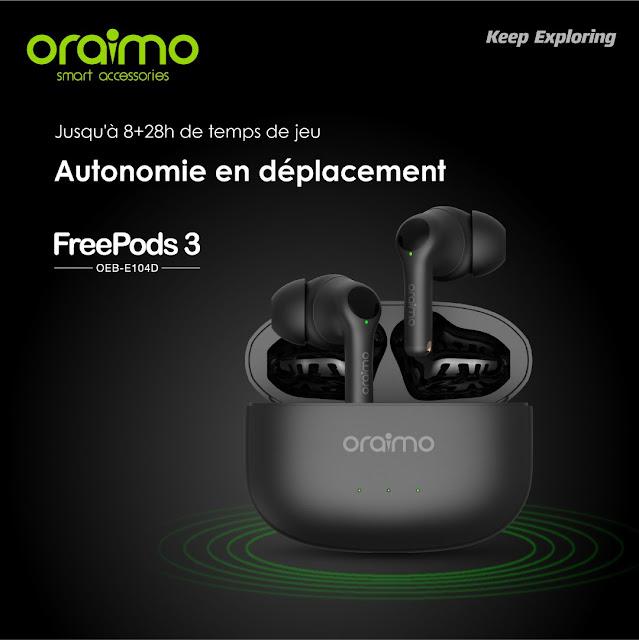 Écouteur sans fil Oraimo FreePods 3 wireless stéréo water proof Model (OEB-E104D) tactile Maroc