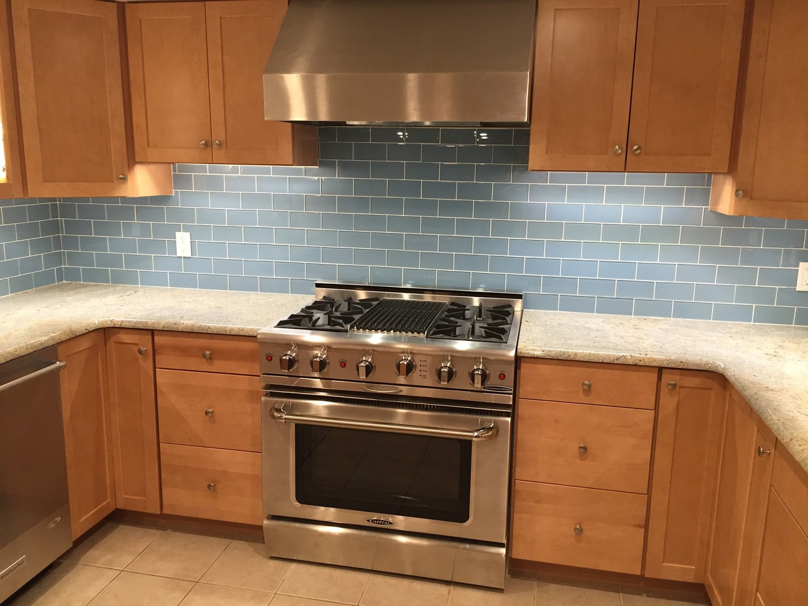 Quardecor Before And After Kitchen Makeover Blue Glass