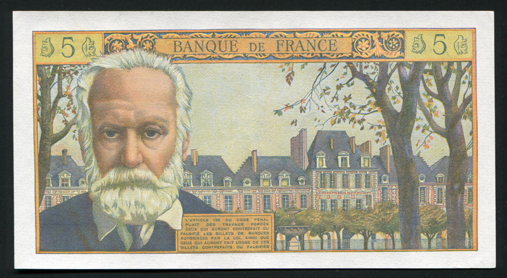 France Currency 5 New Francs banknote of 1959 Victor Hugo|World Banknotes & Coins Pictures | Old ...