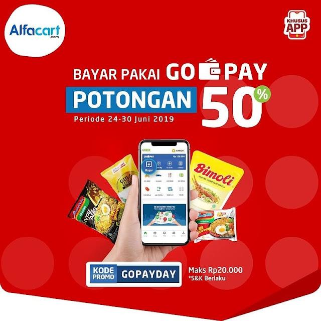 #Alfacart - #Promo Potongan 50% Bayar Pakai GOPAY (s.d 30 Juni 2019)