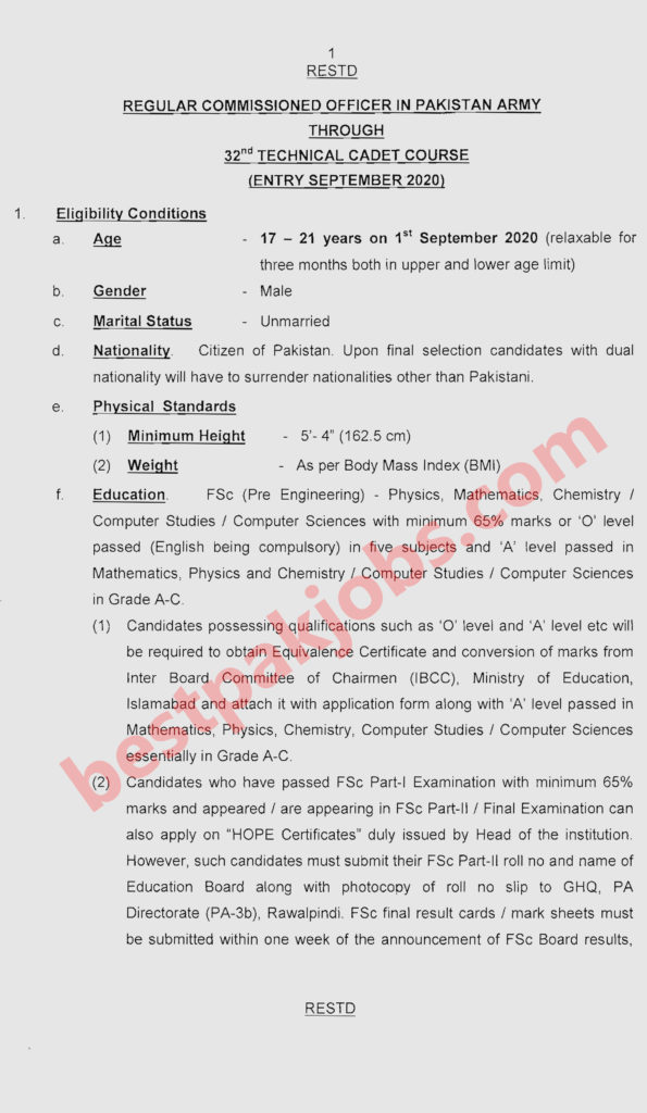 jobs in Pakistan Army Regular Commissioned Officer in Pakistan