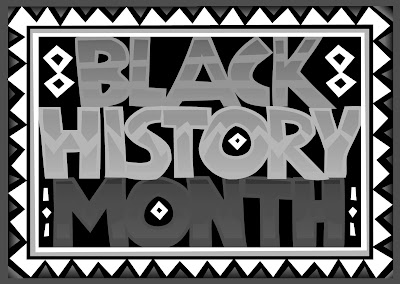 black and white illustrated text: Black history month