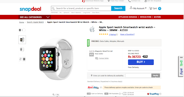 Apple Watch - 38mm available on Snapdeal before an official Indian launch