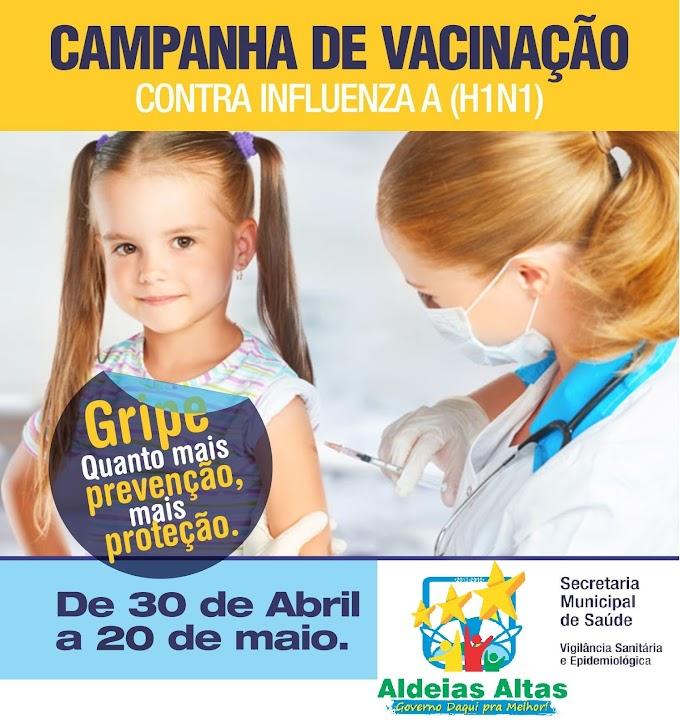 Aldeias Altas mobiliza população para vacinar contra o vírus da gripe