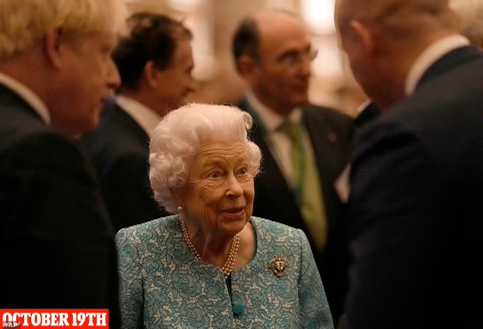 Queen Elizabeth II meets attendees at a reception for Global Investment Conference delegates at Windsor Castle