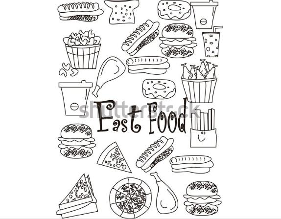 illustration in graphic design bigraund fast food