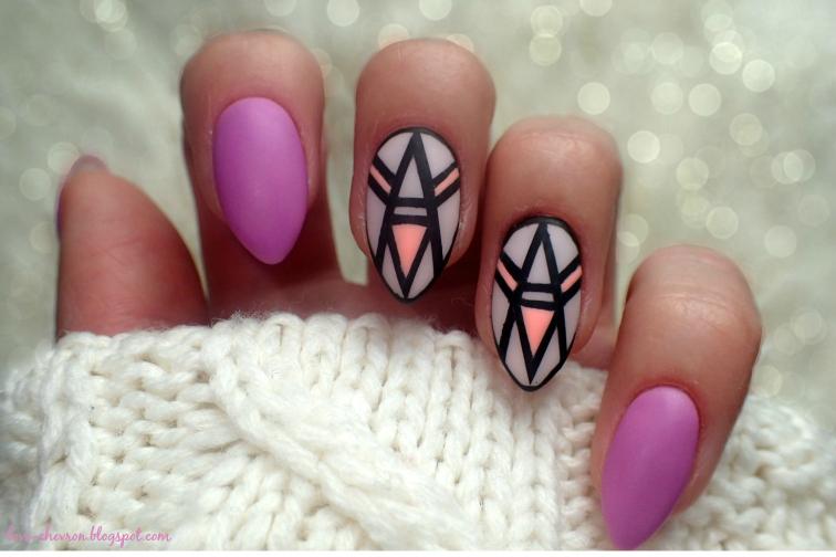 matowe, geometryczne paznokcie