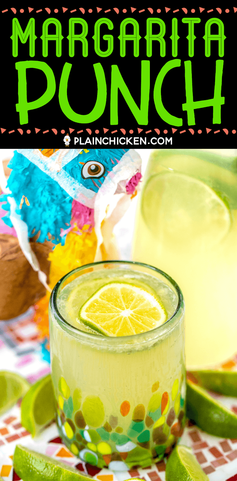 Margarita Punch - great for a crowd! SO easy to make and tastes great! Limeade, Lemonade, orange extract, Sprite, water and tequila. Can leave out the tequila for a virgin margarita punch! Great for Cinco de Mayo, dinner parties and tailgating! #drink #cincodemayo #nonalcoholic #tequila