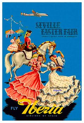 Iberia - Publicidad 1954 - Fiestas de Primavera de Sevilla