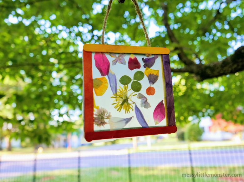Nature suncatcher craft - summer camp craft for kids