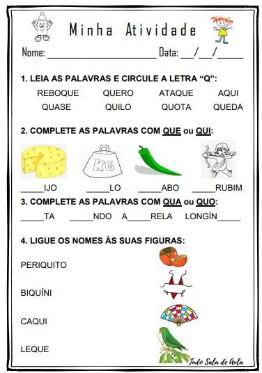 atividade educação infantil letra q
