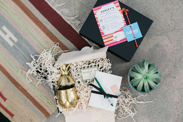 boxfox, guest gifts, party goody bags, gold pineapple shaker