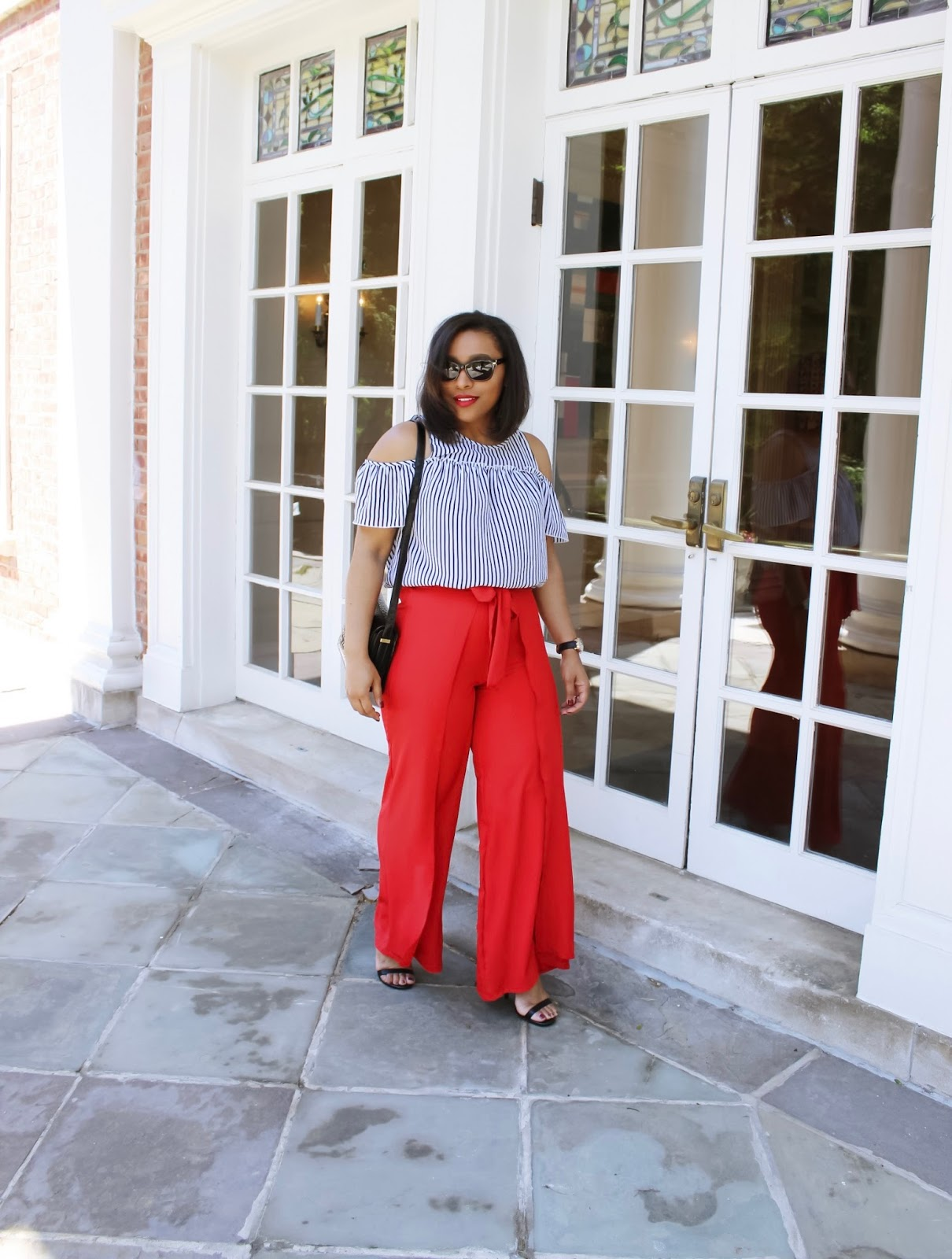 Top ideas for red pants - Chiffon Wrap Palazzo Pants Red Pants Off The Shoulder Summer Looks Cold