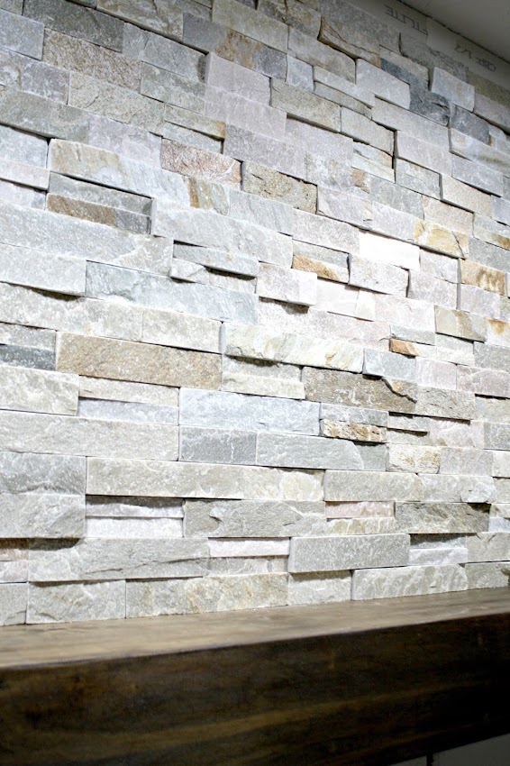 stacked stone around fireplace