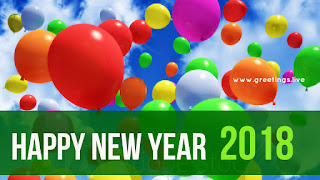Happy New Year greetings with colorful balloons
