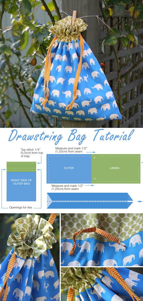 Drawstring Bag Sewing Tutorial