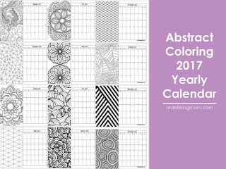 2017 calendar to color