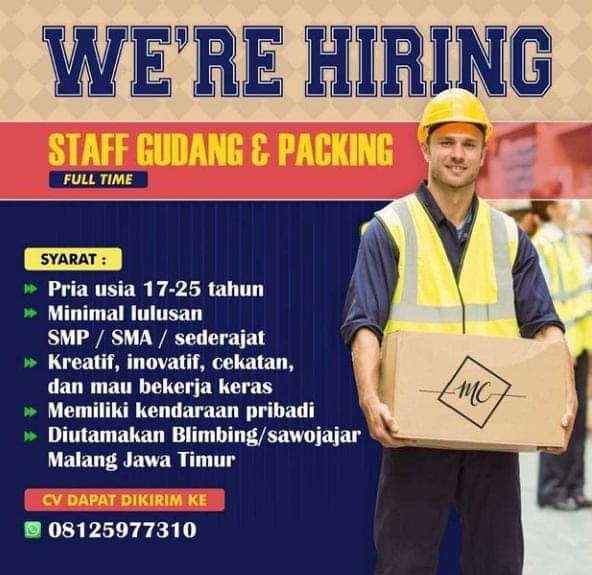 Lowongan Kerja Malang Bulan Juni 2021 [STAFF GUDANG DAN PACKING]