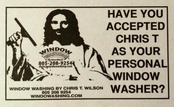Funny Christ Window Washer Sign Joke Picture