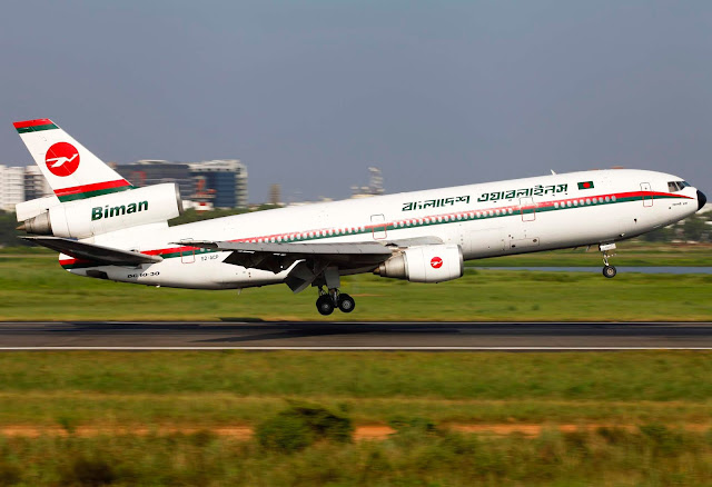 McDonnell Douglas DC-10-30 S2-ACP Biman Bangladesh Airlines uçağı iniyor