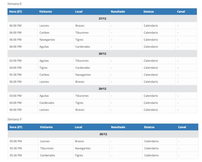 Calendario LVBP 2019- 2020 Octava Semana. Calendario beisbol profesional venezolano. Transmisiones LVBP en vivo.