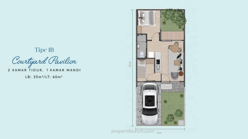Denah Rumah Waterfront Estate Cikarang Tipe 1B Courtyard Pavilion